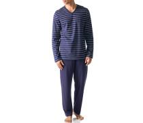 Herren Schlafanzug Pyjama Baumwolle blau-weiß gestreift