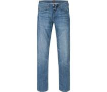 Herren Jeans Regular Slim Baumwoll-Stretch jeansblau