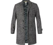 Herren Mantel, Woll-Mix, grau meliert schwarz
