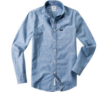 Herren Hemd Regular Fit Strukturgewebe bleu meliert blau
