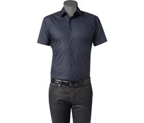 Herren Hemd Slim Fit Stretch-Popeline navy blau