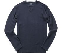 Herren Pullover, Modern Fit, Baumwolle-Wolle, marine blau
