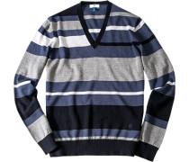 Herren Pullover, Schurwolle, grau-blau gestreift