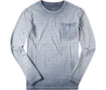 Herren T-Shirt Longsleeve Slim Fit Baumwolle blau meliert