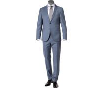 Herren Anzug, Regular Fit, Schurwolle, taubenblau