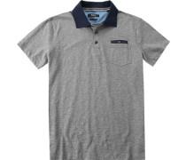 Herren Polo-Shirt Modern Fit Baumwoll-Jersey grau meliert