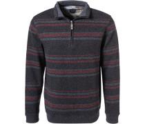 Pullover Troyer, Baumwolle, dunkel gestreift