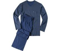 Herren Schlafanzug Pyjama Baumwolle indigo-gelb gemustert blau