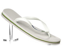 Herren Schuhe Zehensandalen, Gummi, weiß
