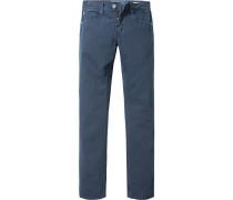 Herren Jeans Regular Fit Baumwoll-Leinen-Mix blau