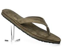 Herren Schuhe Zehensandalen, Leder-Textil, olivgrün