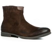 Herren Schuhe Stiefeletten, Veloursleder, kaffeebraun