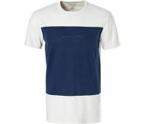 T-Shirt, Modern Fit, Baumwolle, ecru-marineblau