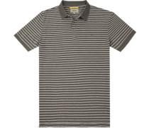 Herren Polo-Shirt, Baumwolle, grau gestreift