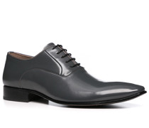 Herren Schuhe Oxford Leder beschichtet grau