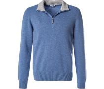 Herren Pullover Troyer, Schurwolle, blau meliert