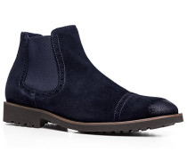 Herren Schuhe Chelsea Boots, Kalbvelours, nachtblau