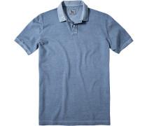 Herren Polo-Shirt Baumwoll-Piqué blau meliert