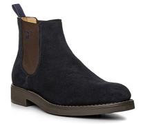 Herren Schuhe Chelsea Boots Veloursleder navy beige