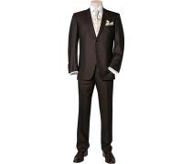 Herren Anzug Slim Line ohne Weste Wolle-Seide braun