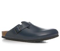 Herren Schuhe Pantolette, Leder, dunkelblau