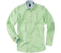 Herren Hemd Baumwolle hellgrün-weiß gestreift