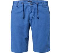 Herren Hose Bermudashorts Leinen blau