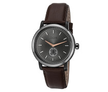 Herren Uhren Uhr, Edelstahl-Lederband, schokobraun-silber