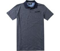 Herren Polo-Shirt Modern Fit Baumwoll-Jersey dunkelblau gestreift