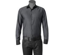 Herren Hemd Slim Fit Strukturgewebe grau-schwarz meliert