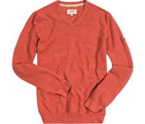 Herren Pullover Baumwolle rost meliert rot