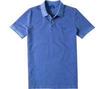 Herren Polo-Shirt Modern Fit Baumwoll-Piqué blau meliert