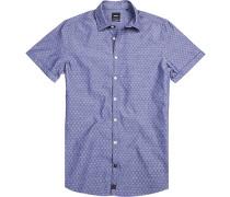 Herren Hemd Slim Fit Baumwolle denim gemustert blau