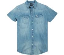 Herren Hemd Regular Fit Baumwolle denim blau