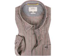 Herren Hemd, Regular Fit, Oxford, grau-rosa gestreift
