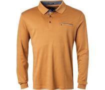 Herren Polo-Shirt, Baumwolle, ockergelb meliert