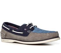 Herren Bootsschuhe Nubukleder grau-taubenblau