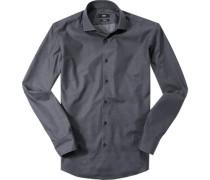 Herren Hemd, Regular Fit, Popeline, nachtblau gemustert