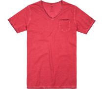 Herren T-Shirt, Baumwolle, rot meliert