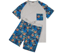 Herren Schlafanzug Pyjama Baumwolle grau-multicolor gemustert