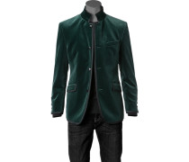 Herren Samt-Sakko Baumwolle smaragdgrün