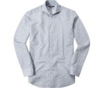 Herren Hemd Shaped Fit Baumwoll-Leinen-Mix blau-ecru floral