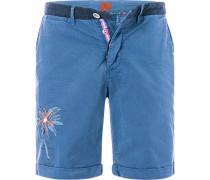 Herren Hose Shorts Regular Fit Baumwolle blau