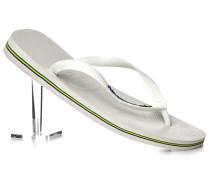 Herren Schuhe Zehensandalen Gummi weiß