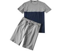 Herren Schlafanzug Pyjama Baumwolle hellgrau-marine