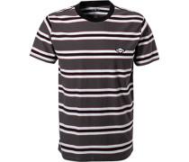T-Shirt, Baumwolle, anthrazit gestreift