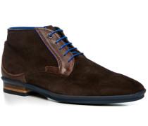 Herren Schuhe Schnürstiefelette, Veloursleder, dunkelbraun