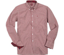 Herren Hemd, Popeline, rot-weiß