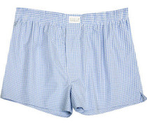 Herren Unterwäsche Boxer-Shorts Popeline hell-weiß kariert