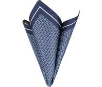 Herren Accessoires Einstecktuch Seide marine-hellblau gemustert